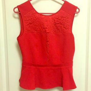 ❤️BCBGMaxAzria red peplum Too with lace size small